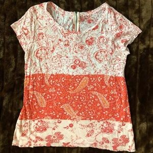 Lucky Brand Red Floral/Paisley Back Zip T-Shirt
